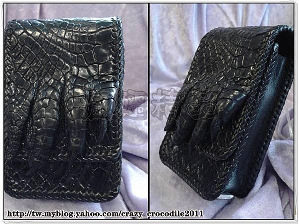【品名】鱷魚腳爪手工編織邊手機套