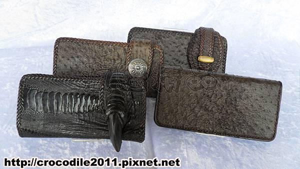 【品名】駝鳥皮及駝鳥腳皮特殊壓扣長夾