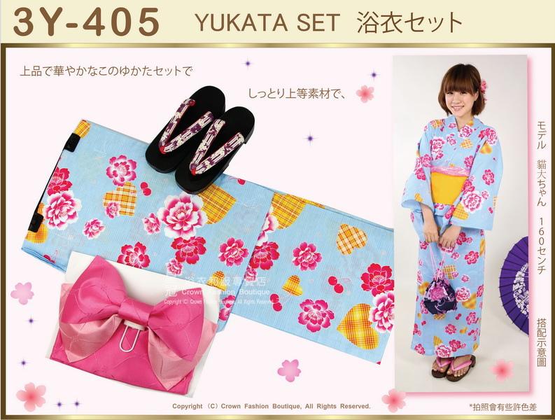 【番號3Y-405】三點日本浴衣Yukata~藍色底+玫瑰花圖案~含定型蝴蝶結和木屐-3.jpg