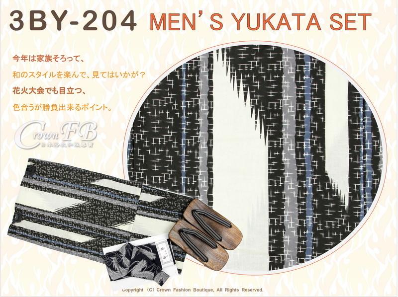 【番號 3BY204】黑色底圖案浴衣L號+魔鬼氈角帶腰帶+木屐-2.jpg