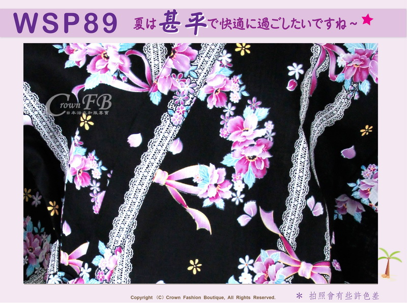 【WSP89】日本女生甚平黑色底花卉~上衣短褲M~L Free Size-2.jpg