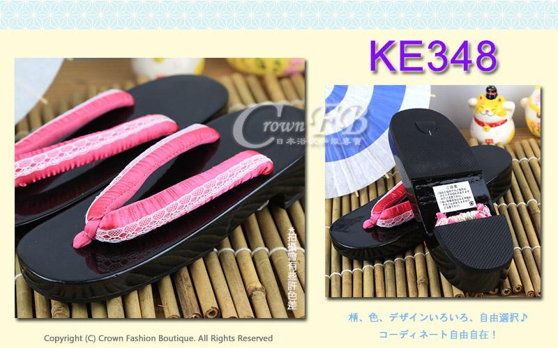 【番號KE348】日本黑色桐木木屐~粉紅色蕾絲傳統型矮跟24cm 2.jpg
