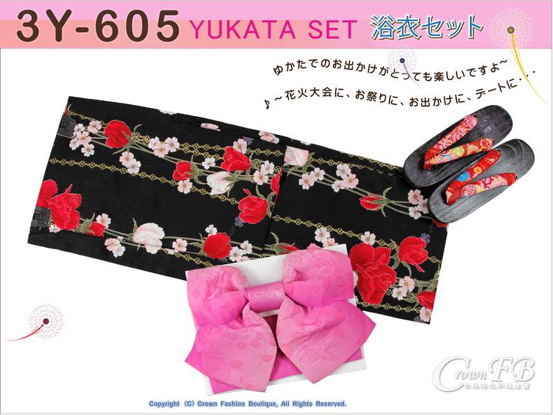 【番號3Y-605】三點日本浴衣Yukata~黑色底花卉~含定型蝴蝶結和木屐-1.jpg