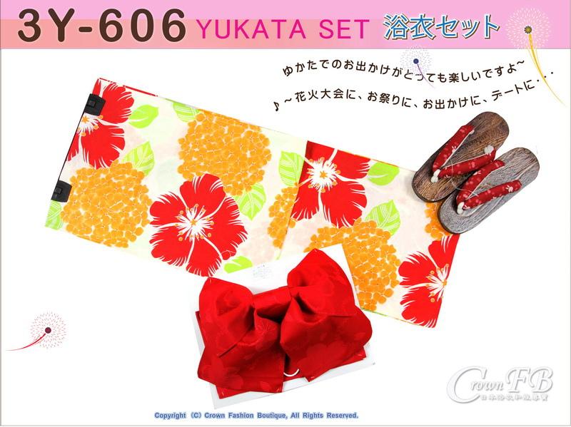 【番號3Y-606】三點日本浴衣Yukata~米色底花卉~含定型蝴蝶結和木屐-1.jpg