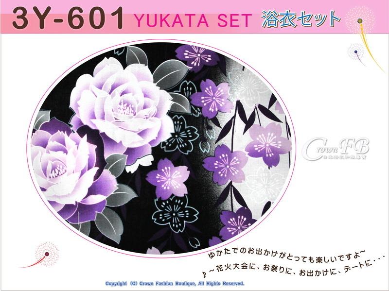 【番號3Y-601】三點日本浴衣Yukata~黑灰色底花卉~含定型蝴蝶結和木屐-2.jpg