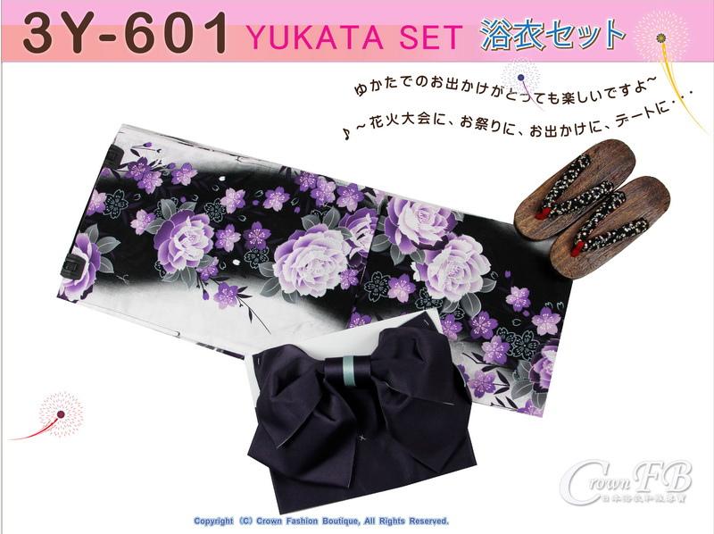 【番號3Y-601】三點日本浴衣Yukata~黑灰色底花卉~含定型蝴蝶結和木屐-1.jpg