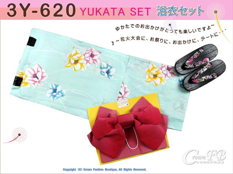 【番號3Y-620】三點日本浴衣 Yukata~水藍底花卉~含定型蝴蝶結和木屐-1.jpg