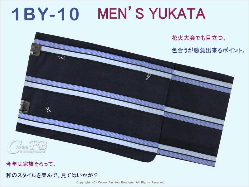 【番號1BY-10】男生日本浴衣Yukata~靛色底直條紋~M號-1.jpg