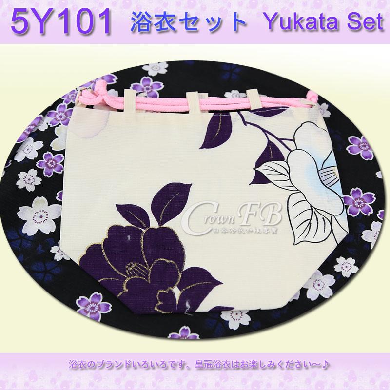 【番號5Y-101】5點日本浴衣Yukata~黑色底櫻花卉~含定型蝴蝶結木屐提袋頭花4.jpg