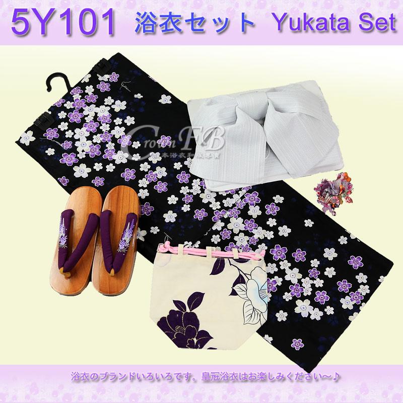 【番號5Y-101】5點日本浴衣Yukata~黑色底櫻花卉~含定型蝴蝶結木屐頭花.jpg