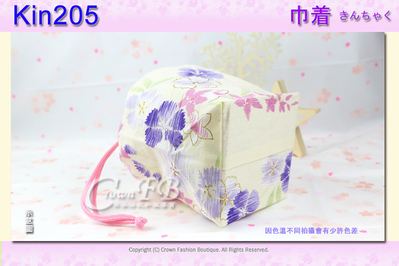 日本浴衣配件【番號Kin205】提袋米白色底花卉~買浴衣套組加購價$200 3.jpg