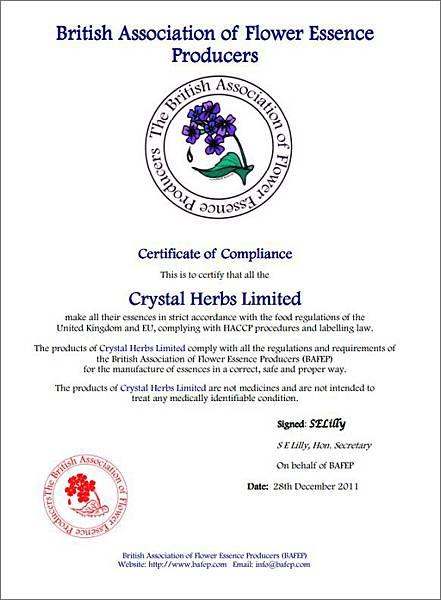 Crystal Herbs英國花精製造商協會認證