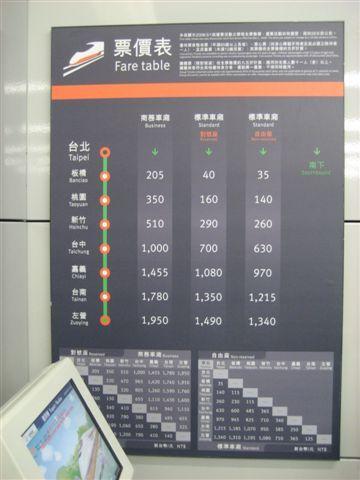 到台北囉!這是高鐵售票區旁邊的價目表