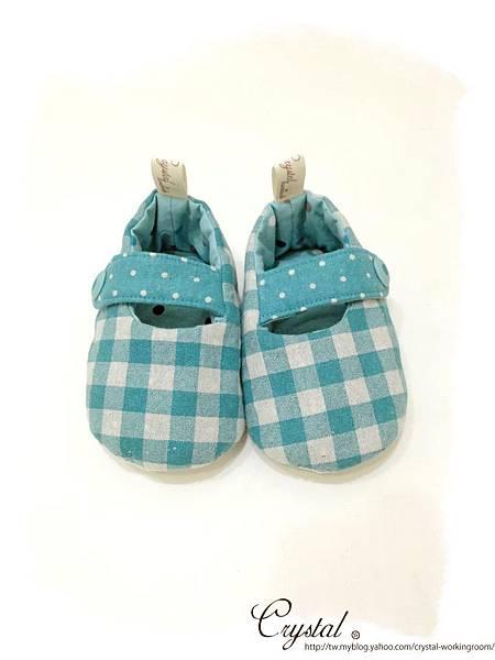 日本格紋點點雙色棉布(綠色款)-寶寶扣帶鞋-1yTo1.5y-1.jpg