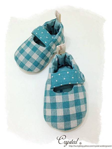 日本格紋點點雙色棉布(綠色款)-寶寶扣帶鞋-1yTo1.5y-2.jpg