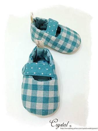日本格紋點點雙色棉布(綠色款)-寶寶扣帶鞋-1yTo1.5y-3.jpg