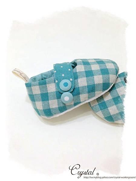 日本格紋點點雙色棉布(綠色款)-寶寶扣帶鞋-1yTo1.5y-4.jpg