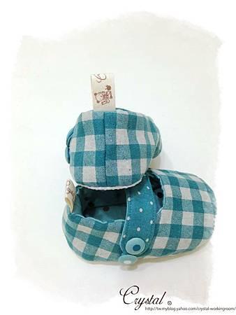 日本格紋點點雙色棉布(綠色款)-寶寶扣帶鞋-1yTo1.5y-5.jpg