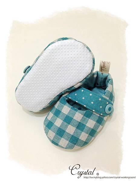 日本格紋點點雙色棉布(綠色款)-寶寶扣帶鞋-1yTo1.5y-6.jpg
