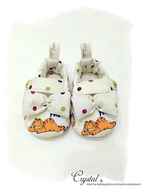 蝴蝶結趴睡加菲貓-寶寶扣帶鞋-1.jpg