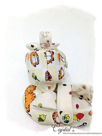 蝴蝶結趴睡加菲貓-寶寶扣帶鞋-5.jpg