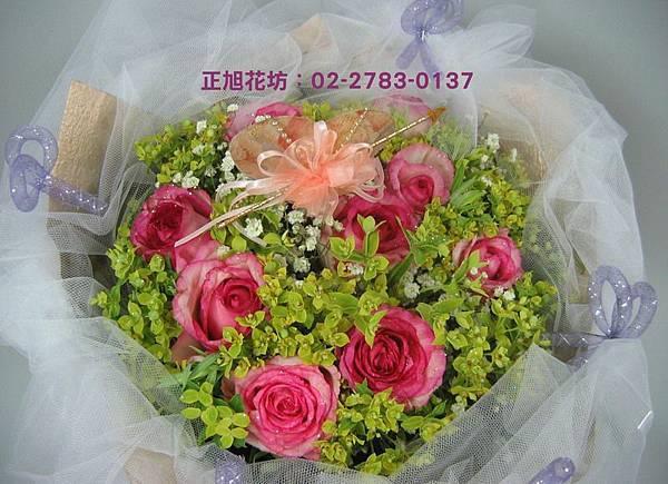 桃紅玫瑰花束