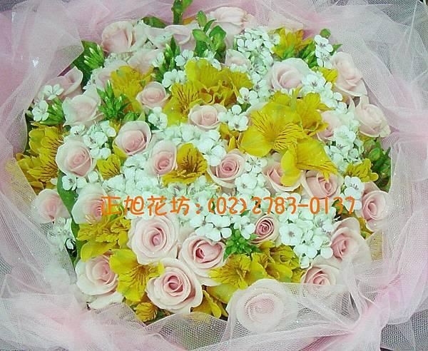 粉紅玫瑰+水仙百合01