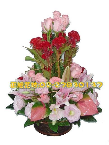 直式粉紅浪漫盆花-01