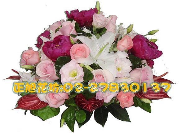 橫式粉紅浪漫盆花-01