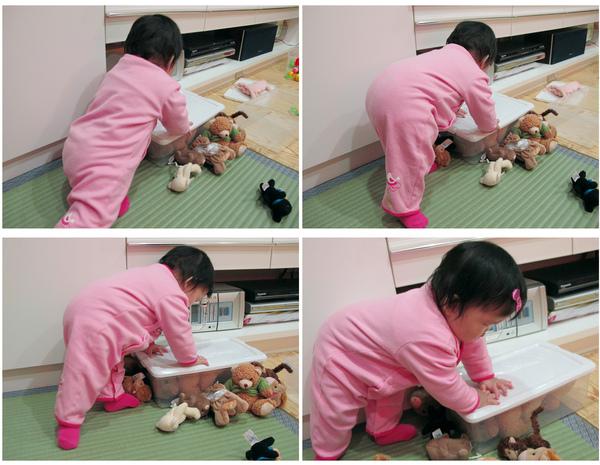 開始皮了~~喜歡撐著玩具箱站起來