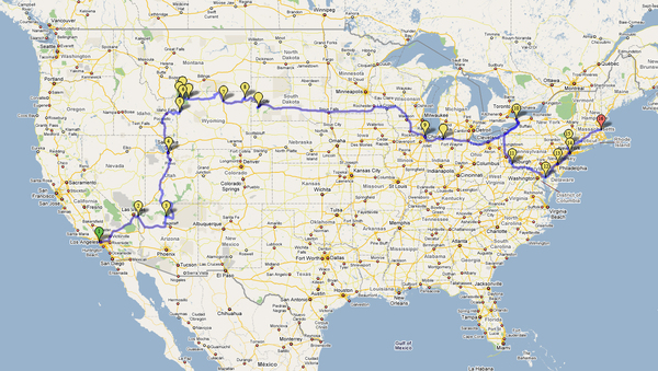 Cross Country Roadtrip Map