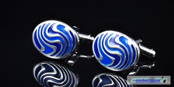 藍色唯美花紋 橢圓形袖扣
