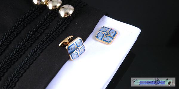 水色莊園藍色琺瑯鍍K金袖扣