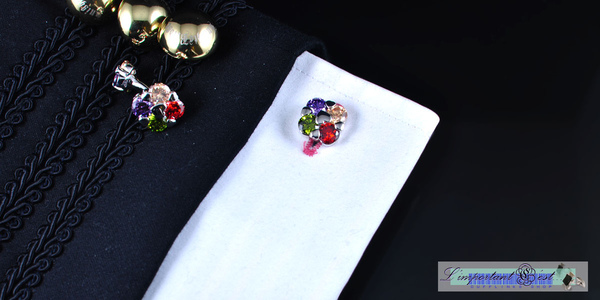繽紛浪漫炫彩鋯石鍍鉑金袖扣