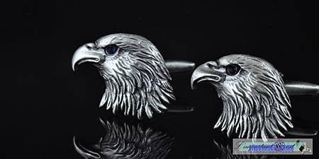 古銀雄鷹藍鑽鷹眼袖扣