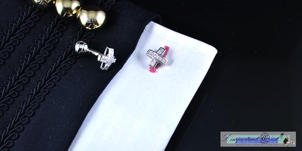 十字星爪鑲鋯石鍍鉑金袖扣