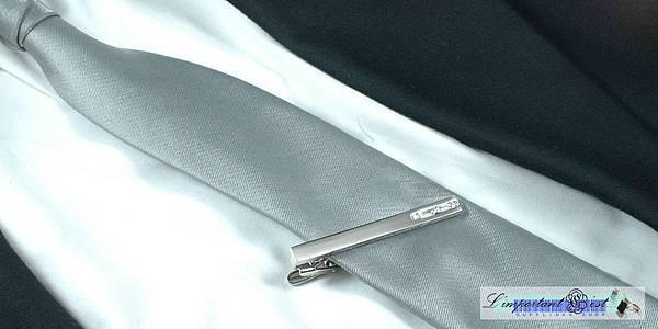 雅緻紳士白水晶領帶夾