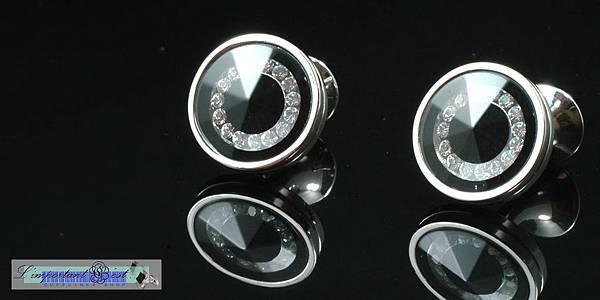 水晶之戀玻璃切面亮黑袖扣