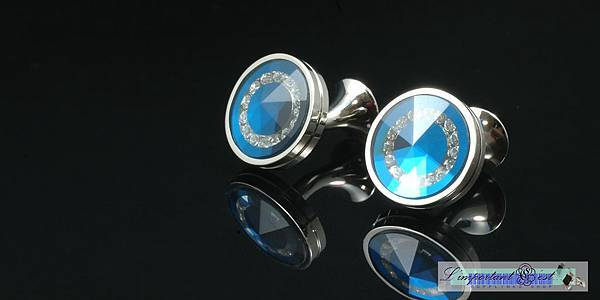 水晶之戀玻璃切面耀藍袖扣