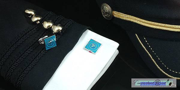 愛神琺瑯彩藍鍍鉑金方形袖扣
