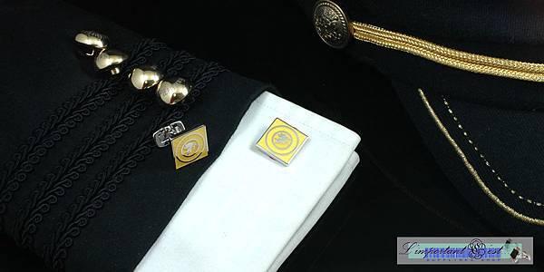 愛神琺瑯鮮黃鍍鉑金方形袖扣