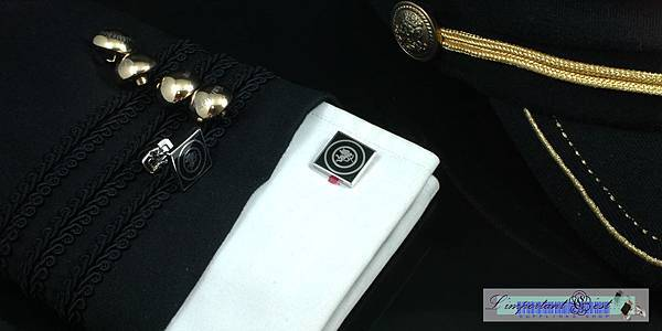 愛神琺瑯酷黑鍍鉑金方形袖扣