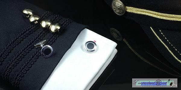 經典黑色琺瑯圓形袖扣