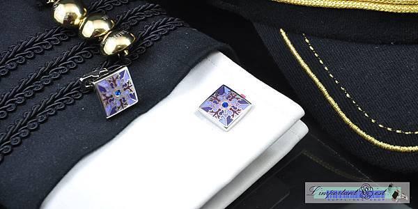 主教紋榮耀紫方形袖扣