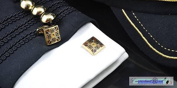 主教紋神權金方形袖扣