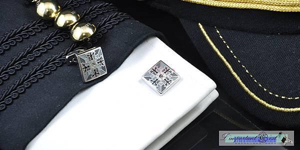 主教紋聖袍灰方形袖扣