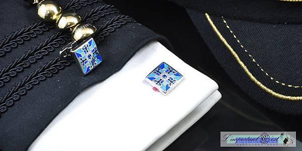 主教紋宗主藍方形袖扣