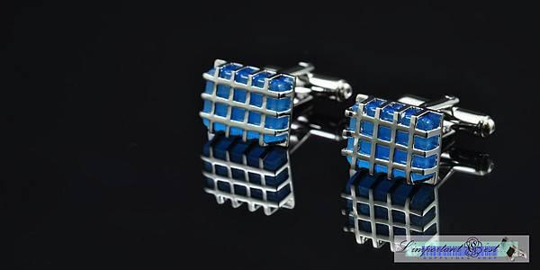 銀框藍鋯石袖扣