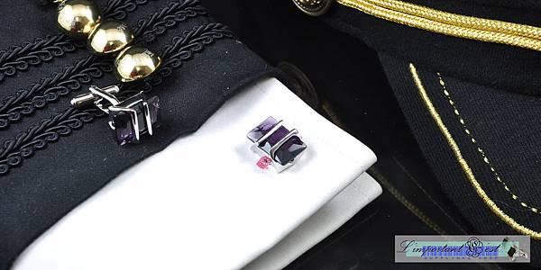 靈火紫鋯石銀框袖扣