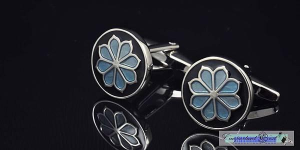 日式花朵徽紋袖扣